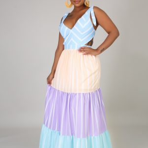 Innocent Maxi Dress has four sections of pastel colors with white stripes
